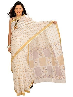 Ivory Sari from Bengal with Printed Bootis and Golden Border