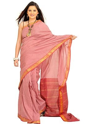 Earth-Red South Cotton Checkered Sari with Zari Weave on Border
