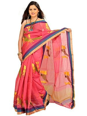 Desert-Rose Chanderi Sari with Woven Sparrows and Striped Border