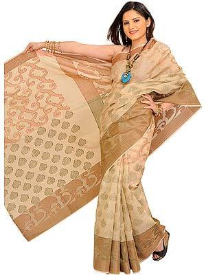 Alabaster-Gleam Banarasi Sari with Woven Motifs and Wide Border