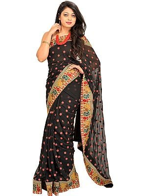 Jet-Black Wedding Sari with Floral Patch Border and Embroidered Bootis All-Over