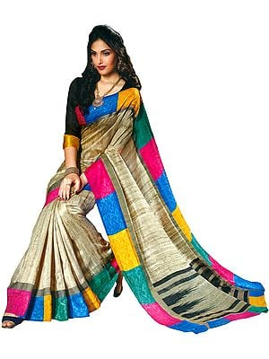 Smoke-Gray Venkatagiri-Silk Sari with Multicolored Self-Weave Border