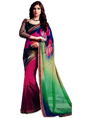 Multicolor Floral Printed Sari with Embroidered Flowers Patch Border