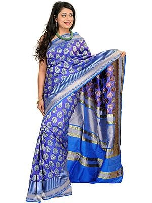 Imperial-Blue Handloom Sari from Banaras with Woven Paisleys All-Over