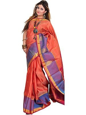Apricot-Brandy Kanjivaram Sari from Bangalore with Wide Temple Border