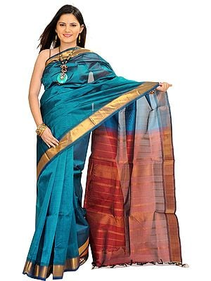 Celestial-Blue and Maroon Solid Sari from Chennai with Golden Border and Zari Weave on Aanchal