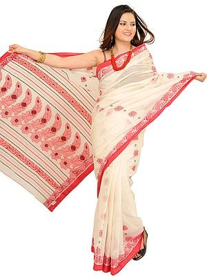 Ivory and Red Sari from Bengal with Woven Flowers