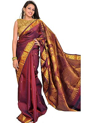 Crushed-Violets Kanjivaram Sari from Bangalore with Woven Butter Krishna on Aanchal