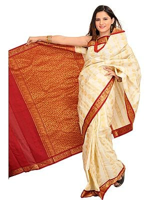 Cream and Maroon Sari from Bangalore with Zari Weave and Lotuses on Aanchal