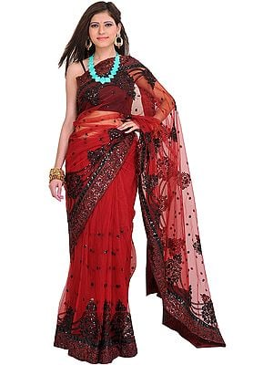 Rosewood Embroidered Wedding Sari with Patch Border and Sequins All-Over