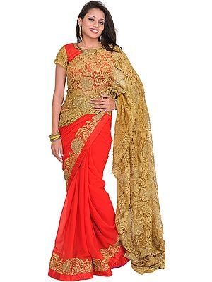 Flame Scarlet and Golden Wedding Prada Palla Sari with Crystals