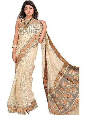 Ivory Self-Weave Net Sari from Banaras with Hand-woven Flowers