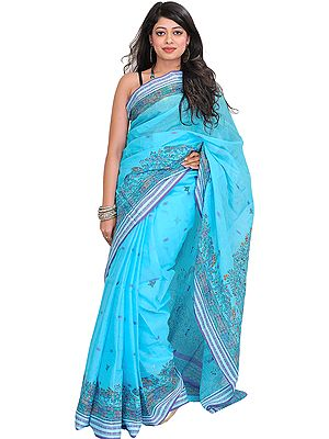 Light-Blue Madhubani Hand-Painted Sari from Bihar with Woven Border