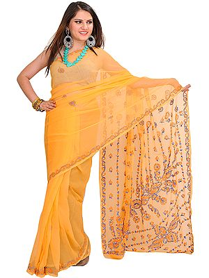 Mock-Orange Sari from Lucknow with Chikan-Embroidery by Hand