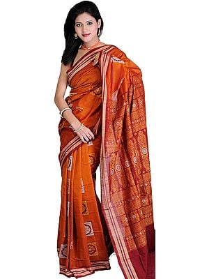 Burnt-Orange and Maroon Bomkai Sari from Orissa with Woven Rudraksha Border and Floral Motifs