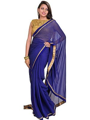 Blue and Golden Wedding Plain Sari with Designer Crochet Blouse