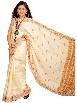 Cream Baluchari Sari from Kolkata Depicting Hindu Mythological Episodes