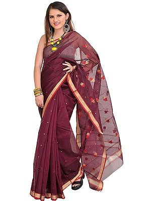 Blackberry-Wine Chanderi Sari with Zari-Woven Roses and Golden Border