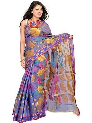 Violet-Storm Banarasi Sari with Zari-Woven Lotuses and Paisleys