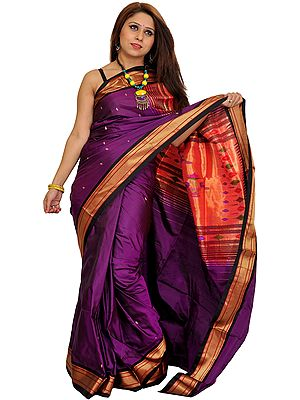 Imperial-Purple and Golden Paithani Sari with Hand-Woven Peacocks on Aanchal