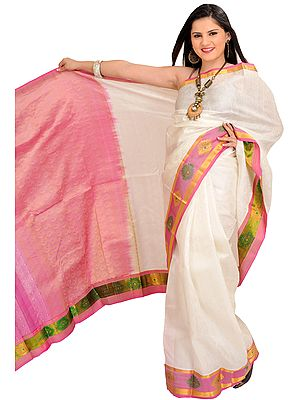 White and Pink Self-Weave Sari from Bangalore with Zari Woven Flowers on Border and Paisleys Aanchal