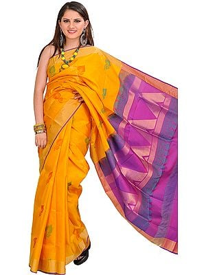 Yellow and Purple Pure Silk Sari from Banaras with Woven Leaves