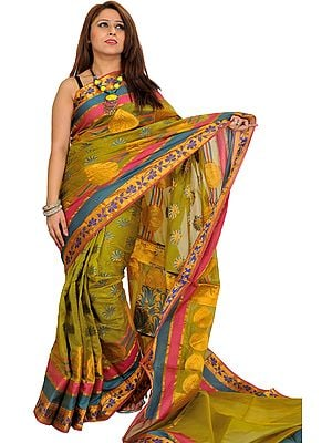 Sari from Banaras with Woven Flowers in Zari Thread