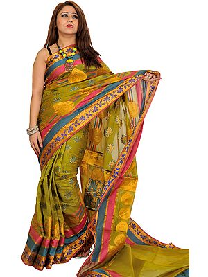 Sari from Banaras with Woven Flowers in Zari Thread