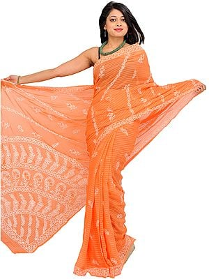 Papaya-Punch Chikan Hand-Embroidered Sari from Lucknow with Woven Stripes