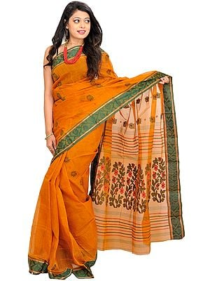 Sudan-Brown Sari from Bengal with Woven Flowers on Aanchal