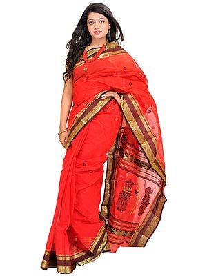 Tomato-Red Sari from Bengal with Zari Floral Border and Bootis