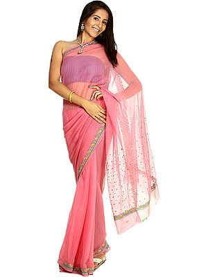 Aurora-Pink Striped Sari with Floral Embroidered Border and Bootis on Aanchal