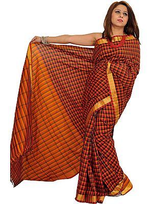 Multicolor South Cotton Checkered Sari with Zari Weave on Border