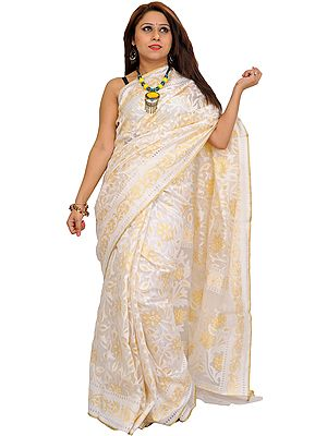 Ivory Self-Weave Net Sari from Banaras with Zari-Woven Flowers