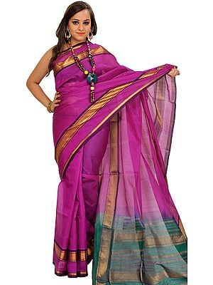 Hyacinth-Violet and Green Solid Sari from Chennai with Zari Weave on Border and Aanchal