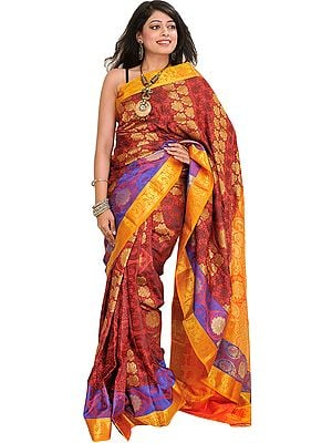 Red and Marigold Self-Weave Sari from Bangalore with Zari Woven Flowers and Paisleys on Aanchal