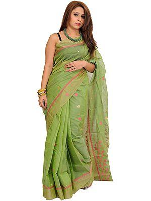 Tendril-Green Chanderi Sari with Woven Bootis