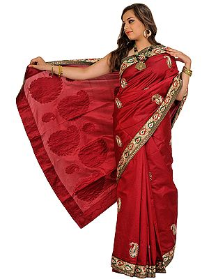 Earth-Red Wedding Sari from Banaras with Embroidered Paisleys Patches