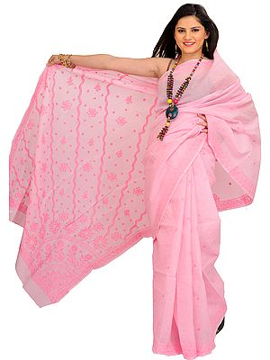 Orchid-Pink Sari from Lucknow with Chikan Embroidery by Hand