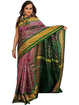 Violet-Quartz and Green Paan Patola Handloom Sari from Patan with Ikat Weave