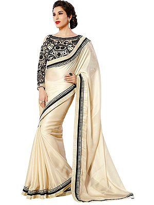Off-White and Black Designer Shimmer Sari with Patch Border and Embroidered Blouse