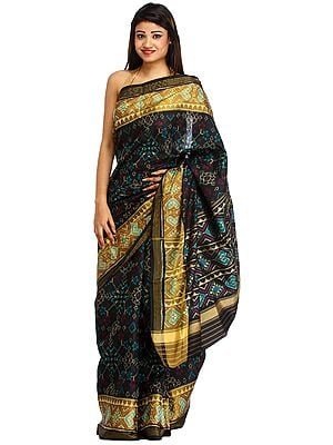 Jet-Black Handloom Paan-Patola Sari from Patan with Ikat Weave
