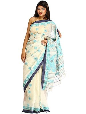 Ivory and Blue Purbasthali Tangail Sari from Bengal with Woven Flowers