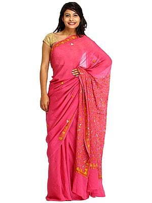 Red-Violet Sari from Kashmir with Sozni Hand-Embroidery on Aanchal