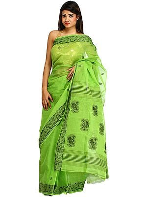Kiwi-Green Sari from Bengal with Floral Border and Paisleys on Aanchal
