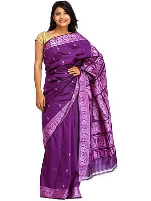 Petunia-Purple Baluchari Sari from Kolkata with Woven Bootis and Paisleys on Aanchal