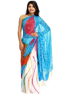 Multicolor Bandhani Marwari Sari from Jodhpur with Leharia Print