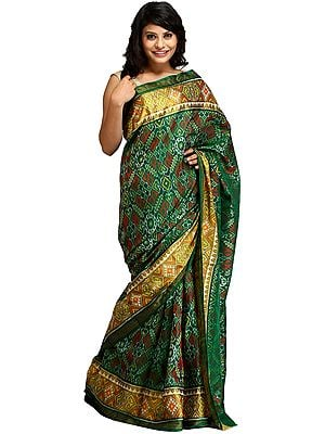 Foliage-Green Paan Patola Handloom Sari from Patan with Ikat Weave