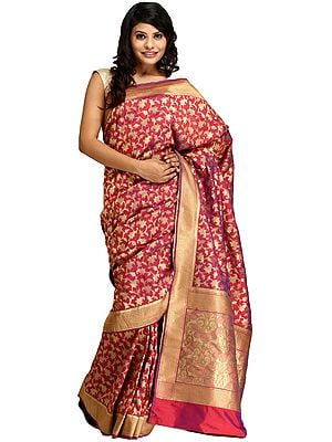 Raspberry-Wine Sari from Banaras with Zari-Woven Paisleys All-Over