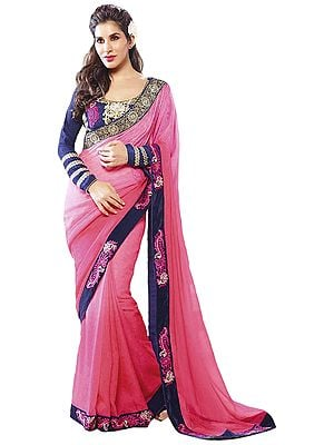 Pink and Dark-Blue Designer Sari with Zari-Embroidered Floral Patch Border and Crystals